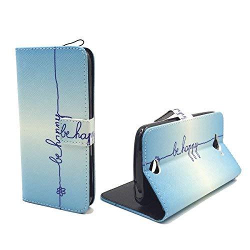 König-Shop Acer Liquid Z530 Klapp-Hülle aus Kunst-Leder   Inklusive Panzer Schutz Glas 9H   Sturzsichere Flip-Case Handyhülle in Blau   Im Be Happy Blau Motiv