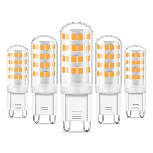 G9 LED Lampe, LED G9 Leuchtmittel warmweiß 3000K, 5w G9 led glühbirne 450LM, Nicht Dimmbar,Ersatz für 40W 50W G9 Halogen lampen, 100-240V AC,15.5x51mm,360 Grad Winkel,CRI> 83,5er Pack -