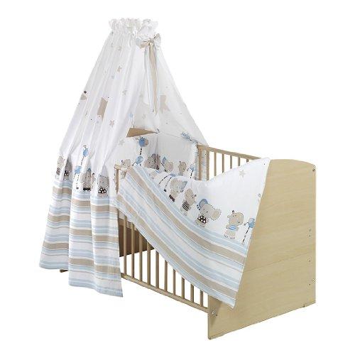 Komplett-Kinderbett - Classic-Line Buche 70x140 cm, inklusive Umbaukit, Bett-Set Banjo Pink, Matratze und Himmelstange