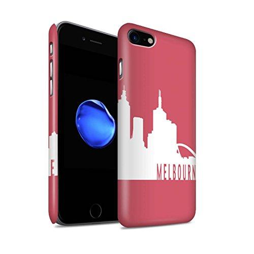 STUFF4 Matte Snap-On Hülle / Case für Apple iPhone 8 / Paris/Türkis Muster / Stadt Skyline Kollektion Melbourne/Rot
