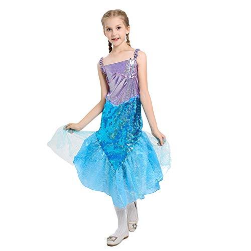 LOLANTA Mädchen Meerjungfrau Kostüm Kind Ariel Kleine Meerjungfrau Kostüm Halloween Cosplay Kostüm (122/128 (6-7 Jahre))
