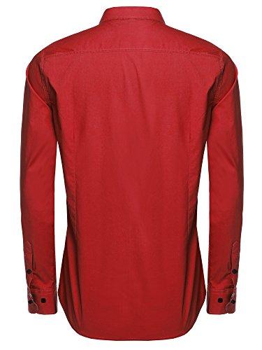 Aulei Herren Hemd slim fit Freizeitbekleidung für Business Hochzeit Fest Rot