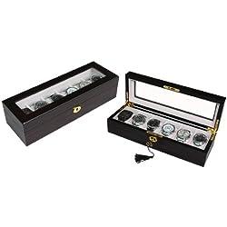 Uhrenbox Uhrenschatulle aus Holz für 6 Uhren in einer sehr schönen eleganten Farbe schwarz/braun matt
