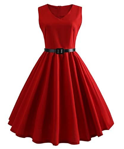 LYQPD 1950er-Jahre Vintage-Farbfarbe A-Line Cotton Hepburn Swing Fancy Party Dress mit Gürtel,Red,L