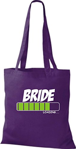 ShirtInStyle Stoffbeutel Baumwolltasche BRIDE Loading Farbe Pink lila
