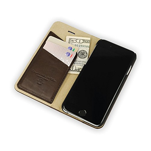 QIOTTI >             Apple iPhone 6 und iPhone 6S (4,7&quot;)             < incl. PANZERGLAS H9 HD+ Booklet Wallet Case Hülle Premium Tasche aus echtem Kalbsleder mit KARTENFÄCHER und STANDFUNKTION. CARRIER SLIM KOLLEKTION in DEN BRAUN