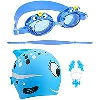 Qkurt Nuoto Goggle cap Impostare, Anti Nebbia Protezione UV con Naso Clip Orecchio Tappi Nuoto Bundle Fit per Adulti Uomini, Donne, Gioventù, Bambini