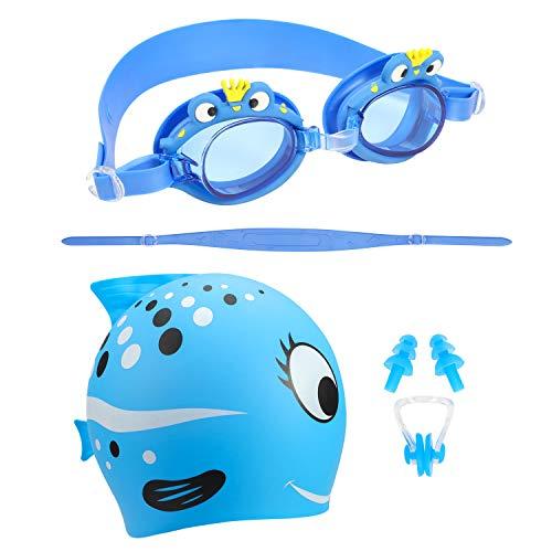 Qkurt Schwimmen Goggle Cap Set, Anti-Nebel UV-Schutz mit Nase Clip Ear Plugs Swimming Bundle Fit...