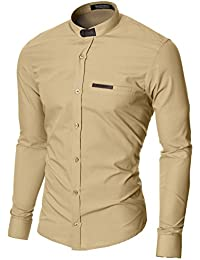 MODERNO Chemise Casual Homme Slim Fit Col Mao Manches Longues (MOD1427LS)