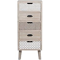 Viva Home Mueble de almacenamiento de madera MDF, 40 x 35 x 97 cm para salón o comedor, con 5 cajones diferentes, Color claro