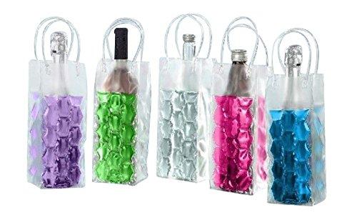 4 Flaschenkühler Tasche mit Eisgel zum einfrieren Sektkühler Weinkühler 2x pink 2x grün