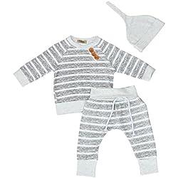 Ropa Bebe Niño Invierno, Zolimx 3Pcs Bebé Recién Nacido Niño Niña Ropa de Rayas Camiseta Tops + Pantalones + Sombreros Conjuntos (Gris, 0-6 Meses)