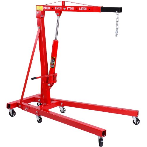 Timbertech 2t Hydraulic Folding Engine Crane Stand Hoist Lift Jack With Wheels Test