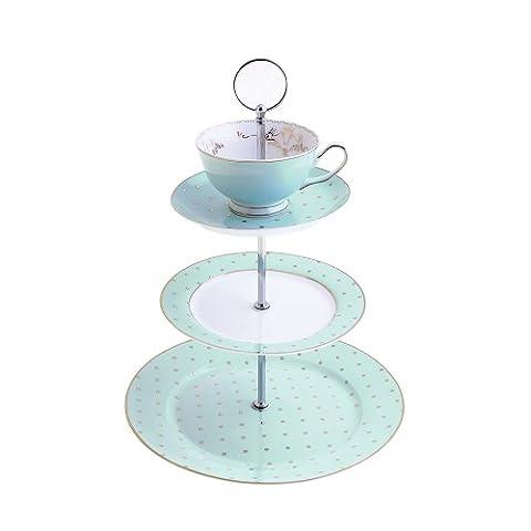 Bombay Duck Miss Darcy Tasse à thé et soucoupe Menthe Support Présentoir à gâteaux 3étages et or Spot - Triple Layer Cake