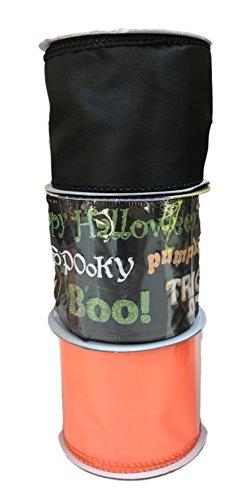 Happy Halloween Wörter mit Solid Orange und Schwarz Bundle Of Drei Halloween themed Bänder