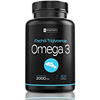 Omega 3 Fischöl [Hochdosiert 2000mg] » mit 800mg EPA und 400mg DHA « Fischölkapseln für essentielle Fettsäuren - Omega-3 - Fish Oil/Öl Tabletten - Omega3 Fischoel in mg - 300 Kapseln