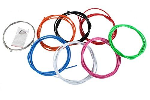 2,5 m farbige Bremszughülle 7 Farben inkl. 2 Bremszüge 6 Endhülsen & 2 Endkappen, Farbe:Weiss