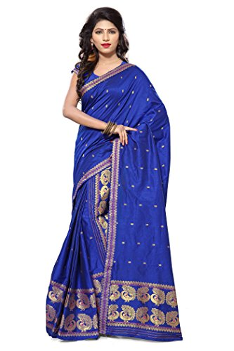 S. Kiran's Women's Assamese Weaving Chanderi Mekhela Chador - Royal Blue Mekhla Sador