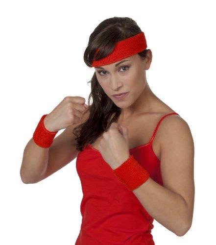 3 tlg. Set Schweißband, Arm und Kopf, Rot (Roten Kopf Perücken)