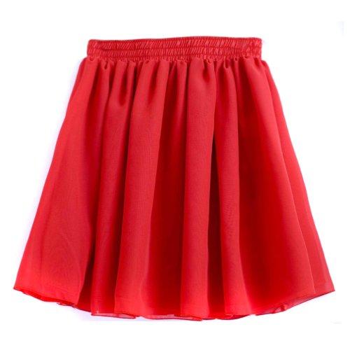 Hee Grand Damen Retro Sexy Damen Chiffon Rock Faltenrock Minirock Tuellrock Kurz Skirt Rot