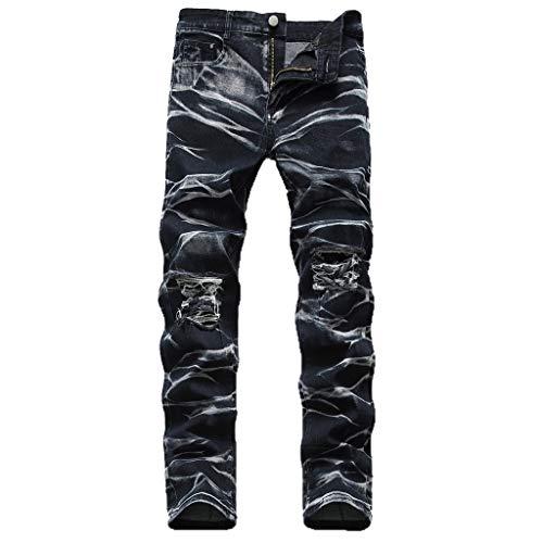 Denim-gestreifte Strumpfhose (ZYUEER Herren Hosen Slim Fit Denim Jeans Pants Männer Casual PersöNlichkeit Slim Tie Dyed Jeans Hose Jeanshose Freizeithose Fitnesshosen)