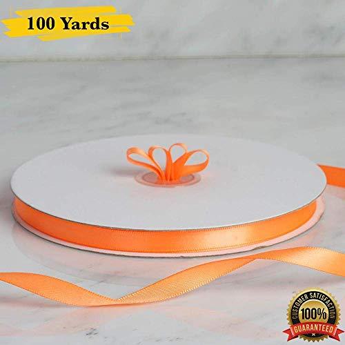 MM GIFTS 0,9 cm x 100 Yards Satinband Rolle, dekoratives Satinband, perfekt für Haarschleife, Hochzeitsdekoration, Geschenkverpackung. 3/8
