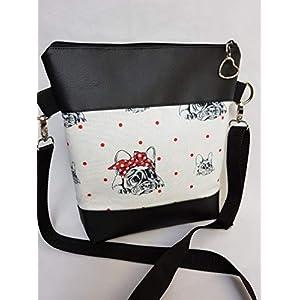 Handtasche Mops Hund Umhängetasche weiss schwarz Kunstleder mit Anhänger Tasche Geschenk