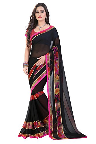 Glory Sarees Georgette Saree (Vn20_Black)