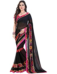 Glory Sarees Women's Georgette Saree With Blouse Piece (Vn20, Black, Free Size)