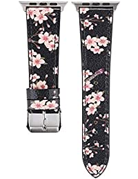 Watch Strap,Hengzi Fashion Plum Blossom Top Grain Leather Strap Fantastic Replacement Watch Band for Apple Watch 38mm