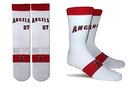 PKWY by Stance Herren 2er-Pack Los Angeles Angels & Mike Trout #27 Player Uniform Socken, Unisex, weiß, X-Large -