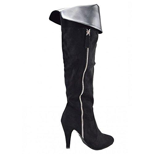Kick-Scarpe da donna sopra il ginocchio, lunga, colore: nero Nero (In camoscio nero)