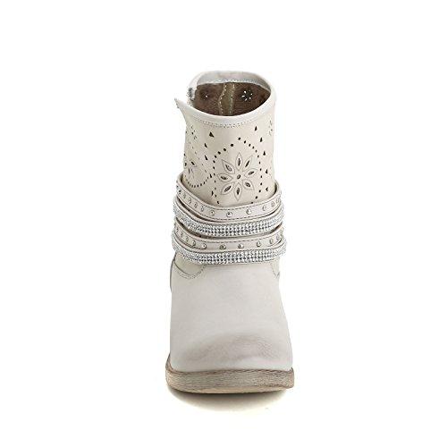 PRENDIMI by Scarpe&Scarpe - Stiefeletten mit Laserdetails und Riemchen mit Strasssteinen, mit Absätzen 3 cm Grau