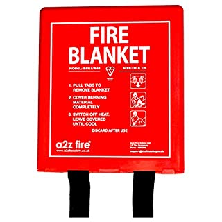1m x 1m Fire Blanket In Hard Case From A2Z Fire - British Standard BSi Kitemarked & CE Approved - Easy To Install & Quick To Deploy In Emergency