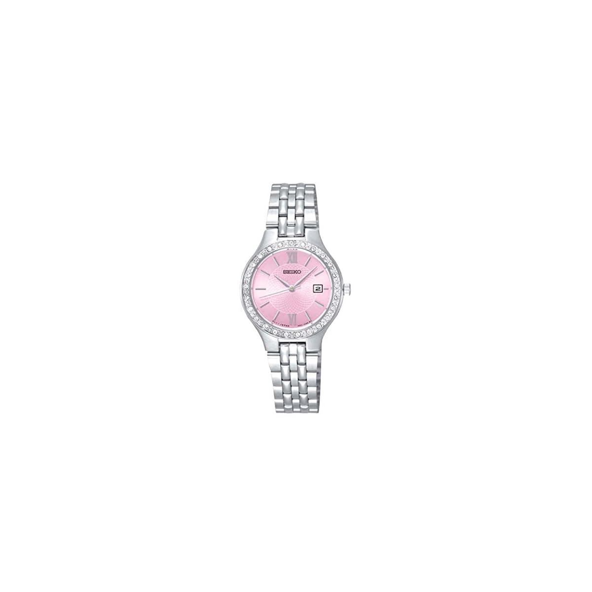 41rxzOr2nkL. SS1200  - Seiko Reloj Analogico para Mujer de Cuarzo con Correa en Acero Inoxidable SUR765P9