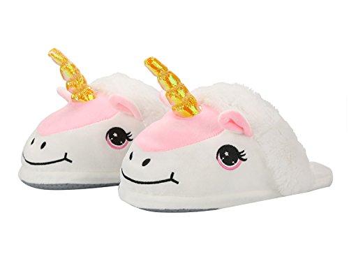Damen Einhorn Hausschuhe Plüsch Pantoffeln Kostüm Unicorn - Einheitsgröße für Erwachsene Geschenk für Weihnachten Karneval Fasching weiß+pink