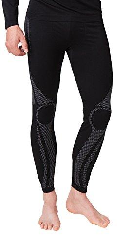 Armee Lange Unterhose (Herren Ski Funktionswäsche, Outdoor Unterwäsche, aus geschmeidigem Microfaser Material wählbar als Hose, Hemd 1/2 arm oder Hemd langarm. Von Vincent Creation (S/M, Hose grau/schwarz)(32525))