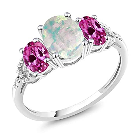 10K White Gold 2.10Ct Cabochon Simulated Opal Pink Created Sapphire 3-Stone Ring