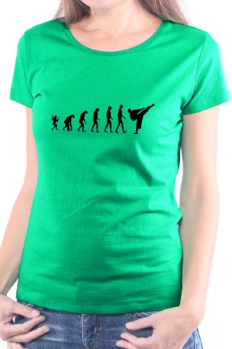 Mister Merchandise Donne Donna Camicetta T-Shirt Karate Evolution , Ladies Tee Taglia: M, Color: Verde