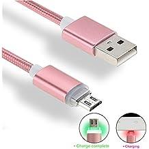 iMusi Câble Micro USB LED OD 4.0mm Chargeur Rapide Nylon Tressé Pour Samsung Sony HTC LG Smartphone - 1 mètre - Rose d'or