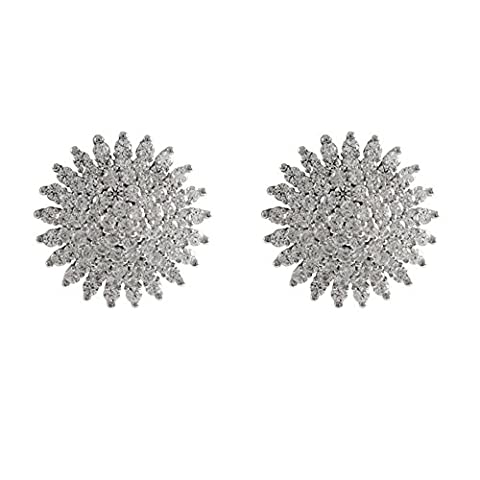 Pretty Jewellery 14k White Gold Finish 925 Silver Round Simulated Diamond Cluster Women's Stud