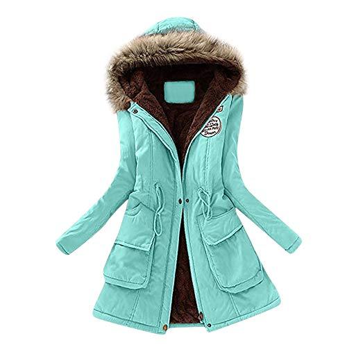 KUDICO Damen Mantel Herbst Winter Warmer Pelzkragen schlank fit Monochrom Reißverschluss Lange Kapuzenjacke Parka Outwear, Angebote!(Grün, EU-46/CN-3XL)