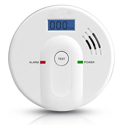 Six Foxes CO Melder Kohlenmonoxid Melder Kohlenmonoxid-Alarm Detektor Carbon Monoxide Sensor Batteriebetrieben mit LCD Bildschirm, Digitale Anzeige und Stimme Warnung