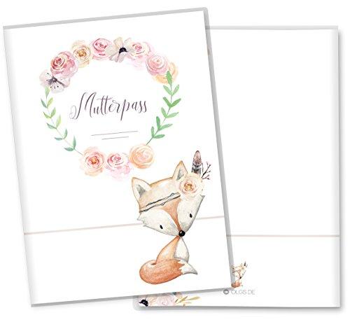 Mutterpasshülle 3-teilig Cute Boho Fuchs schöne Geschenkidee Schutzhülle (Mutterpass ohne Personalisierung, Fuchs)