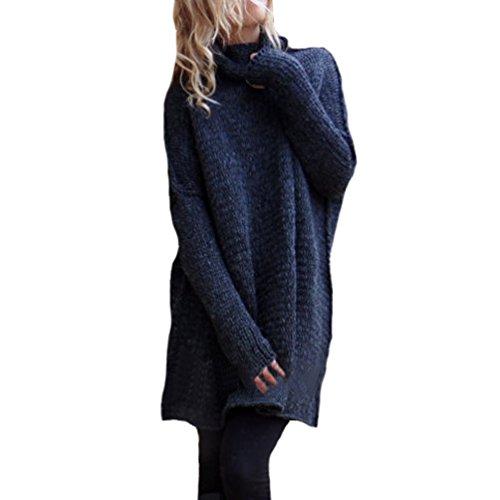 Donna Casuale Baggy Maglione Sciolto Alto Collo Solid Color Chunky Maglia Manica Lunga Denso Inverno Pullover Sweatshirt Marina