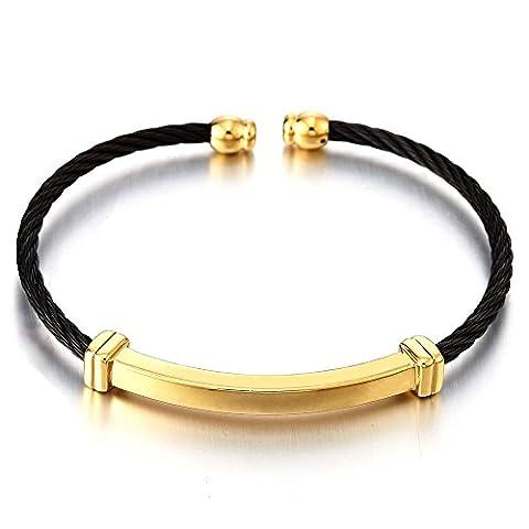 Schwarz Gold Zweifarbig Dünne Edelstahl Elastische Herren Damen Armband Manschette Verstellbare Stahlkabel Armreif