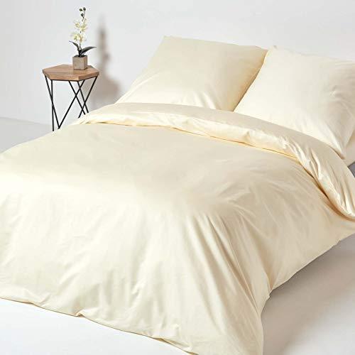 HOMESCAPES 3-teiliges Bettwäsche-Set - 100% Reine Baumwolle, Fadendichte 1000, luxuriöse Perkal-Bettwäsche - Bettbezug 240 x 220 cm mit 2 Kissenbezügen 80 x 80 cm, Creme/vanille