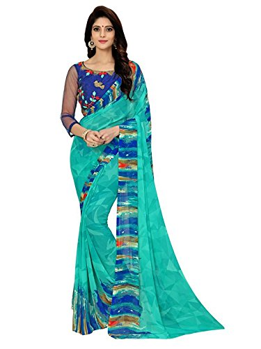 Aelicia Printed, Embroidered, Self Design Fashion Georgette, Synthetic Georgette Saree (Light Blue)  available at amazon for Rs.329