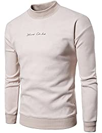 BUSIM Men's Long Sleeve Sweater Autumn Winter Letter Print Pullover Slim Solid Color Personality Sweatshirt Top...