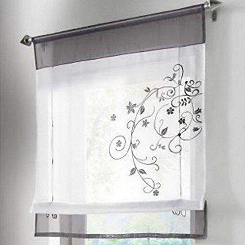 amazon.de: souarts grau stickblume gardine raffgardinen vorhang ... - Raffrollo Für Wohnzimmer